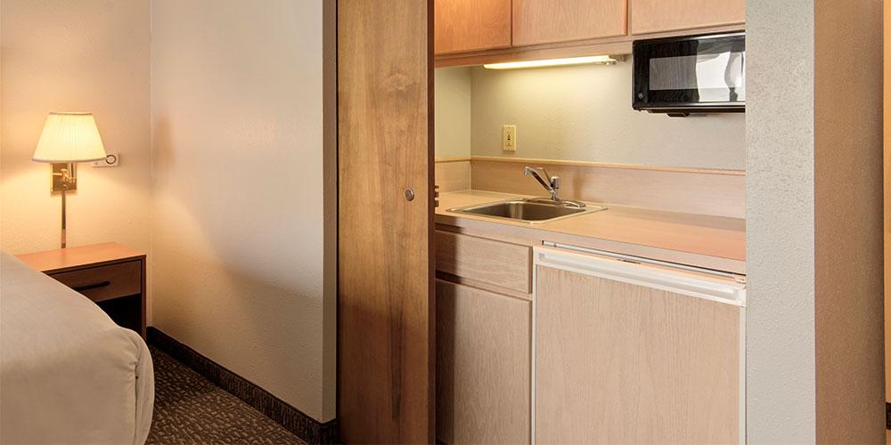 Each room includes microwave, snack refrigerator, wet bar, in-room Keurig.