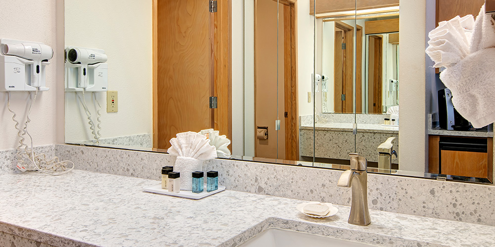 Bathrooms are equipped with a hairdryer and complimentary shampoo and conditioner.