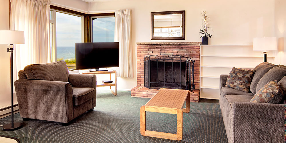 Wood Fireplace with wood provided.