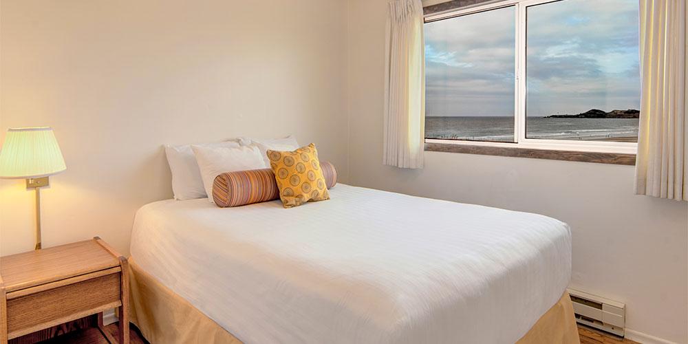 Bedroom with seaside views.
